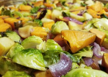 Sweet Potato, Brussels Sprout, Apple and Onion Medley